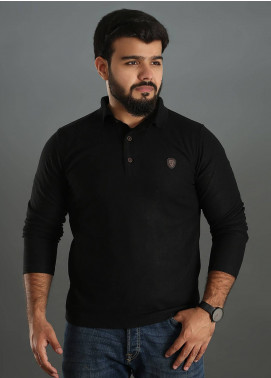 Sanaulla Exclusive Range Jersey Polo Full Sleeves for Men - Black SAM18TS 01