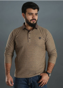 Sanaulla Exclusive Range Jersey Polo Men Full Sleeves - Brown SAM18TS 04
