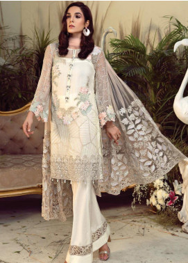 Orabelle by Imrozia Embroidered Chiffon Unstitched 3 Piece Suit SEI190 01 Iris Lace - Luxury Collection