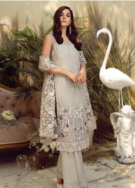 Orabelle by Imrozia Embroidered Chiffon Unstitched 3 Piece Suit SEI190 03 Silver Brunia - Luxury Collection