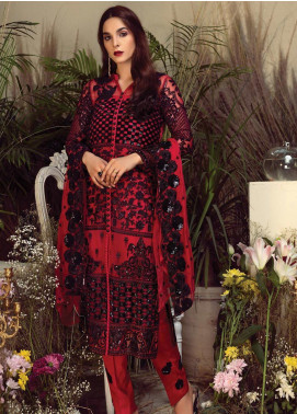 Orabelle by Imrozia Embroidered Chiffon Unstitched 3 Piece Suit SEI190 04 Tranquil Wine - Luxury Collection