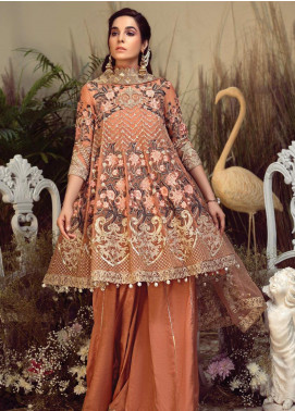 Orabelle by Imrozia Embroidered Chiffon Unstitched 3 Piece Suit SEI190 05 Oriental Auburn - Luxury Collection