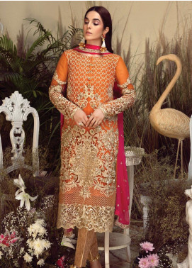 Orabelle by Imrozia Embroidered Chiffon Unstitched 3 Piece Suit SEI190 06 Apricot Nectar - Luxury Collection