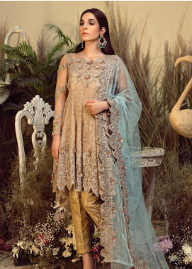 Orabelle by Imrozia Embroidered Chiffon Unstitched 3 Piece Suit SEI190 07 Ginger Musk - Luxury Collection