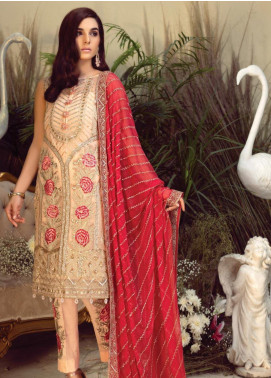 Orabelle by Imrozia Embroidered Chiffon Unstitched 3 Piece Suit SEI190 08 Luminescent Pearl - Luxury Collection