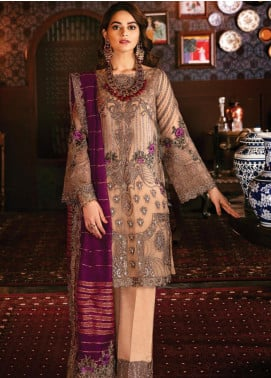 Imrozia by Serene Premium Embroidered Chiffon Unstitched 3 Piece Suit IMP20SL 103 Bronze Maquerade - Luxury Collection