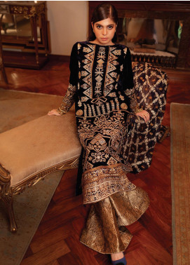 Inaara by AIK Atelier Embroidered Velvet Unstitched 3 Piece Suit AIK19V 1 - Winter Collection