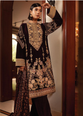 Inaara by AIK Atelier Embroidered Velvet Unstitched 3 Piece Suit AIK19V 2 - Winter Collection
