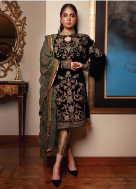 Inaara by AIK Atelier Embroidered Velvet Unstitched 3 Piece Suit AIK19V 4 - Winter Collection