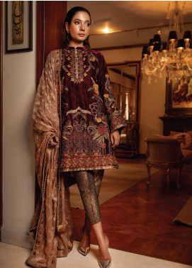 Inaara by AIK Atelier Embroidered Velvet Unstitched 3 Piece Suit AIK19V 5 - Winter Collection