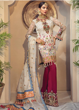 Anaya By Kiran Chaudhry Embroidered Organza Unstitched 3 Piece Suit AKC19WC 02 YASMIN - Wedding Collection