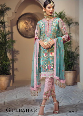 Anaya By Kiran Chaudhry Embroidered Organza Unstitched 3 Piece Suit AKC19WC 03 GULBAHAR - Wedding Collection
