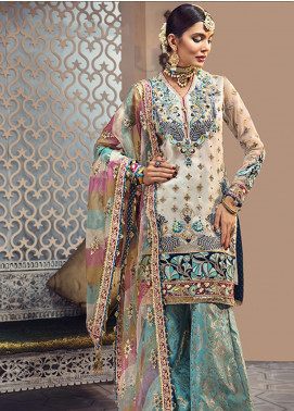 Anaya By Kiran Chaudhry Embroidered Organza Unstitched 3 Piece Suit AKC19WC 06 FIRUZEH - Wedding Collection