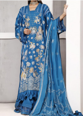 Ethnic Bloom by Ittehad Textiles Embroidered Cotton Satin Unstitched 3 Piece Suit ITD20W 5 Cosmic Cobalt - Winter Collection