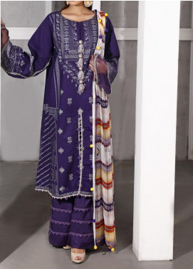 Ethnic Bloom by Ittehad Textiles Printed Cambric Unstitched 3 Piece Suit ITD20W 7 Cyber Grape - Winter Collection