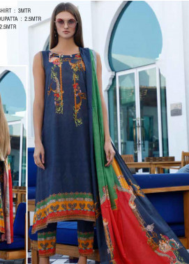 Ittehad Textiles Printed Lawn Unstitched 3 Piece Suit ITD20DL 001 OCEAN DEEP - Summer Collection