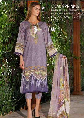 Ittehad Textiles Printed Lawn Unstitched 3 Piece Suit ITD20DL 011 LILAC SPRINKLE - Summer Collection