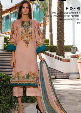 Ittehad Textiles Printed Lawn Unstitched 3 Piece Suit ITD20DL 013 ROSE BLUSH - Summer Collection