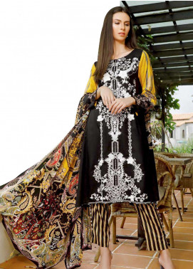 Ittehad Textiles Embroidered Linen Unstitched 3 Piece Suit ITD19DW BLACK IRIS - Winter Collection