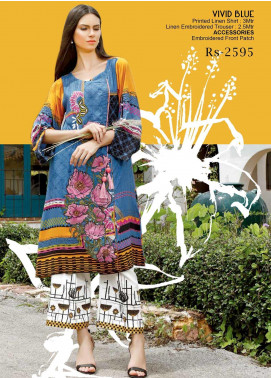 Ittehad Textiles Embroidered Linen Unstitched 2 Piece Suit ITD19DW VIVID BLUE - Winter Collection