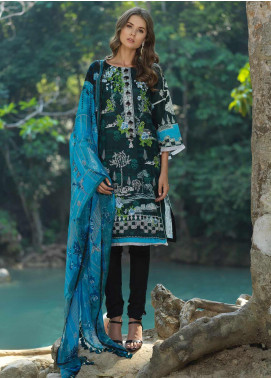 Ittehad Textiles Embroidered Lawn Unstitched 3 Piece Suit ITD20DG BLUE BEAUTY - Summer Collection