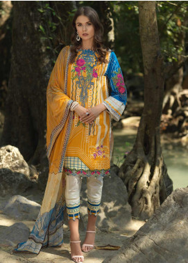 Ittehad Textiles Embroidered Lawn Unstitched 3 Piece Suit ITD20DG BUTTERCUP - Summer Collection