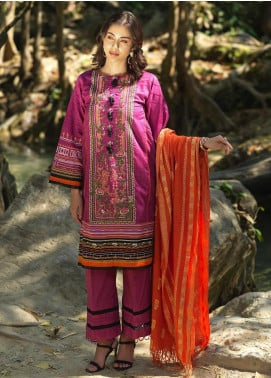 Ittehad Textiles Embroidered Lawn Unstitched 3 Piece Suit ITD20DG PINK GALAXY - Summer Collection