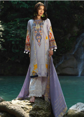 Ittehad Textiles Embroidered Lawn Unstitched 3 Piece Suit ITD20DG VOILET CLAIR - Summer Collection