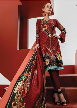 Ittehad Textiles Printed Linen Unstitched 3 Piece Suit ITD19L 15 - Fall Collection