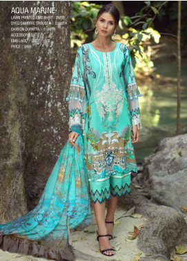 Ittehad Textiles Embroidered Lawn Unstitched 3 Piece Suit ITE20SL AQUA MARINE - Summer Collection