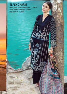Ittehad Textiles Embroidered Lawn Unstitched 3 Piece Suit ITE20SL BLACK CHARM - Summer Collection