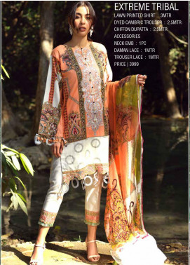 Ittehad Textiles Embroidered Lawn Unstitched 3 Piece Suit ITE20SL EXTREME TRIBAL - Summer Collection