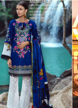 Ittehad Textiles Embroidered Lawn Unstitched 3 Piece Suit ITE20SL MIDNIGHT BLUE - Summer Collection