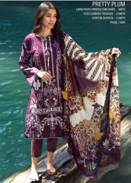 Ittehad Textiles Embroidered Lawn Unstitched 3 Piece Suit ITE20SL PRETTY PLUM - Summer Collection