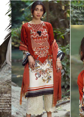 Ittehad Textiles Embroidered Lawn Unstitched 3 Piece Suit ITE20SL RED RUSH - Summer Collection