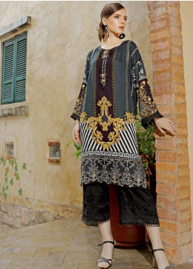 Ittehad Textiles Embroidered Linen Unstitched Kurties ITD19EW ASH BLUE - Winter Collection