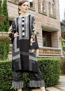 Ittehad Textiles Embroidered Linen Unstitched 2 Piece Suit ITD19EW BLACK GRAPHITE - Winter Collection
