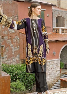 Ittehad Textiles Embroidered Linen Unstitched Kurties ITD19EW IMPERIAL PURPLE - Winter Collection