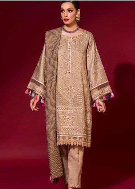 Ittehad Textiles Embroidered Linen Unstitched 3 Piece Suit ITD20PS 14 ECRU - Winter Collection