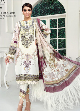 Ittehad Textiles Embroidered Lawn Unstitched 3 Piece Suit ITD20F 27 Bana - Spring / Summer Collection