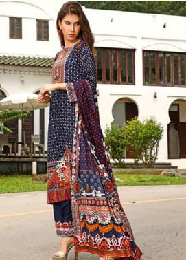 Ittehad Textiles Printed Linen Unstitched 3 Piece Suit ITJ19L 2524B - Fall Collection