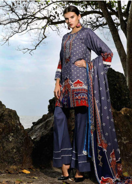 Ittehad Textiles Printed Linen Unstitched 3 Piece Suit ITJ19L 2526A - Fall Collection