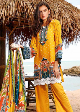 Ittehad Textiles Printed Linen Unstitched 3 Piece Suit ITJ19L 2526B - Fall Collection