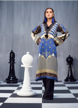Ittehad Textiles Printed Cotton Satin Unstitched Kurties IT20C HARBOR BLUE 03 - Spring / Summer Collection