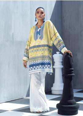 Ittehad Textiles Printed Cotton Satin Unstitched Kurties IT20C LIME MIST 18 - Spring / Summer Collection