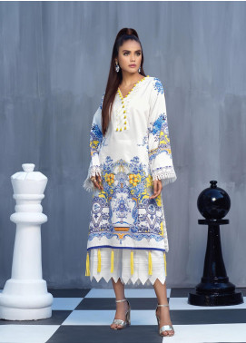 Ittehad Textiles Printed Cotton Satin Unstitched Kurties IT20C PROCELAIN BLUE 09 - Spring / Summer Collection