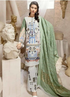 Ittehad Textiles Embroidered Khaddar Unstitched 3 Piece Suit ITD19W LAGOON GREEN - Winter Collection