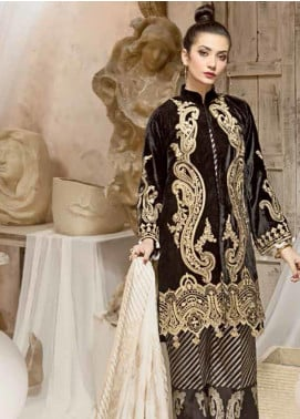 Ittehad Textiles Embroidered Velvet Unstitched 3 Piece Suit ITD19W PEBBLE - Winter Collection