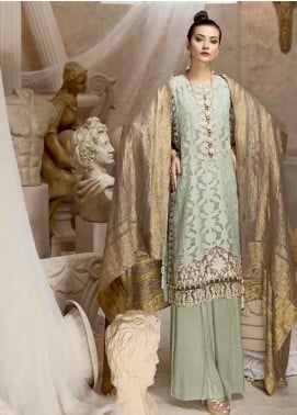 Ittehad Textiles Embroidered Jacquard Winter Collection Winter Mint 2019