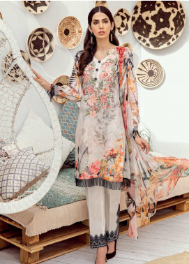 Iznik Chinon Embroidered Lawn Unstitched 3 Piece Suit IZC19-L3 10 WHISPER WHITE - Mid Summer Collection